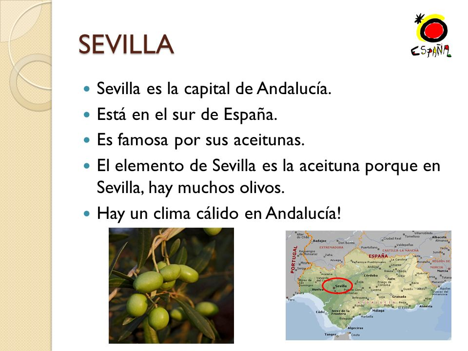 SEVILLA Sevilla es la capital de Andalucía. Está en el sur de España.