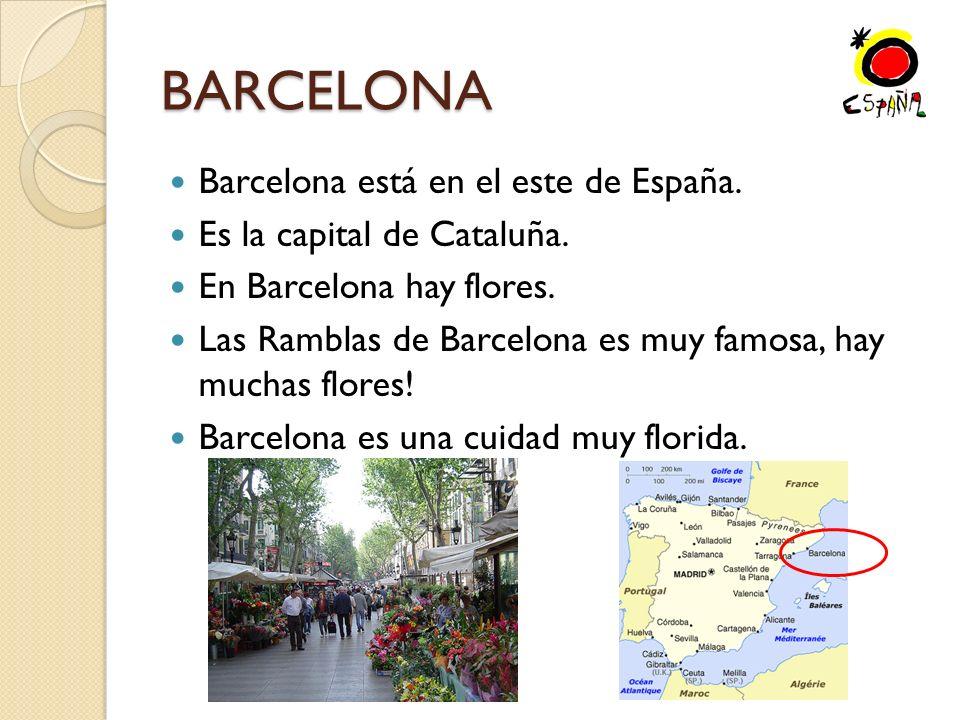 BARCELONA Barcelona está en el este de España.