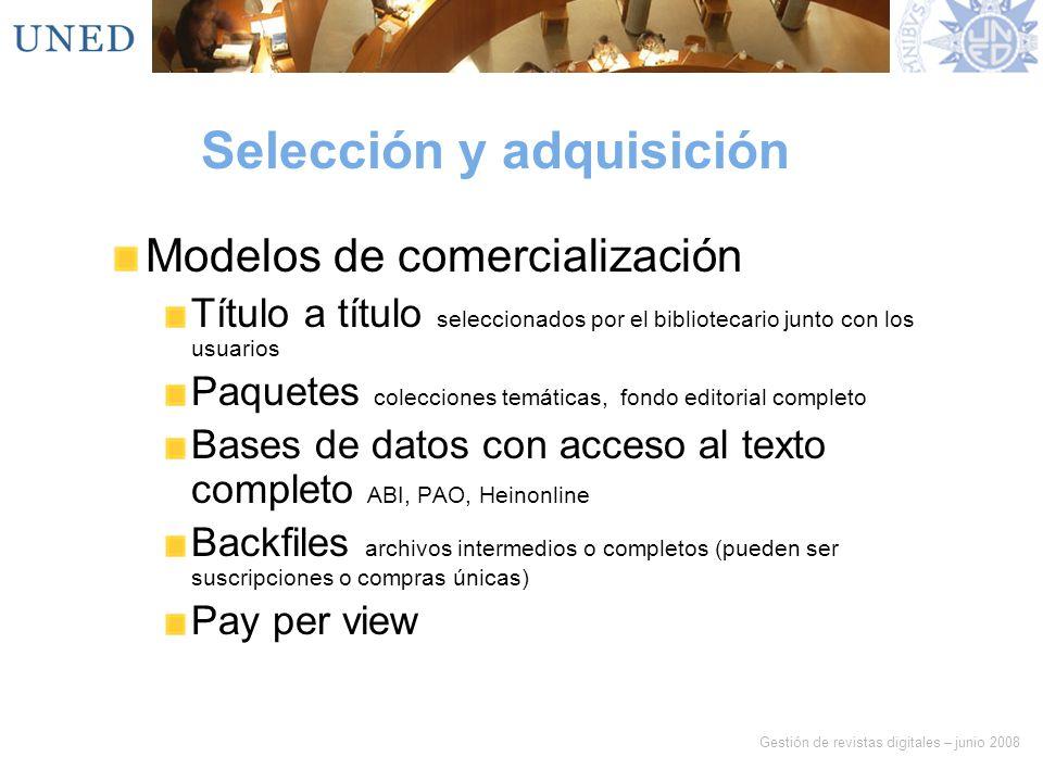 Selección y adquisición