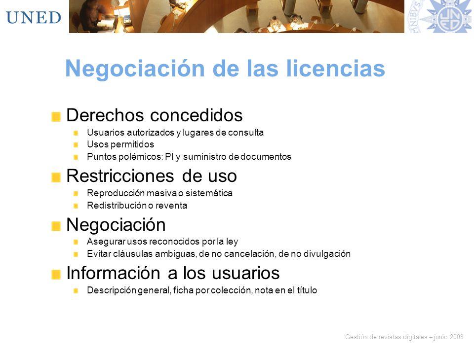 Negociación de las licencias