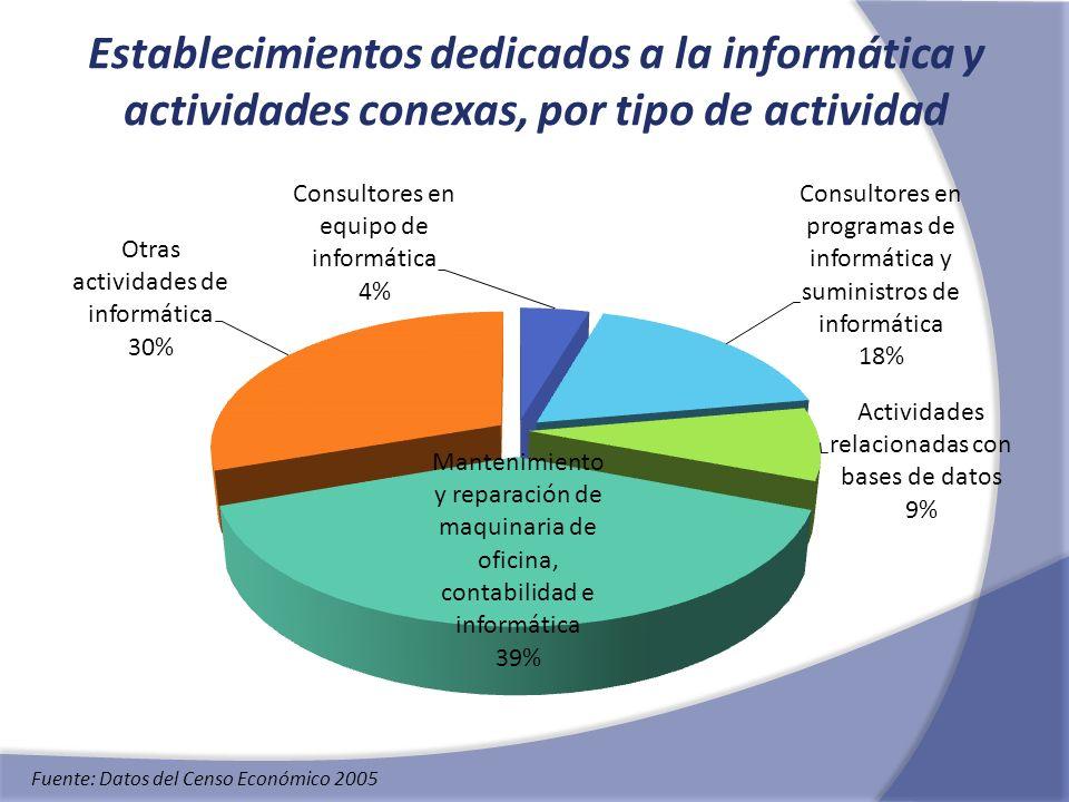 Establecimientos dedicados a la informática y actividades conexas, por tipo de actividad
