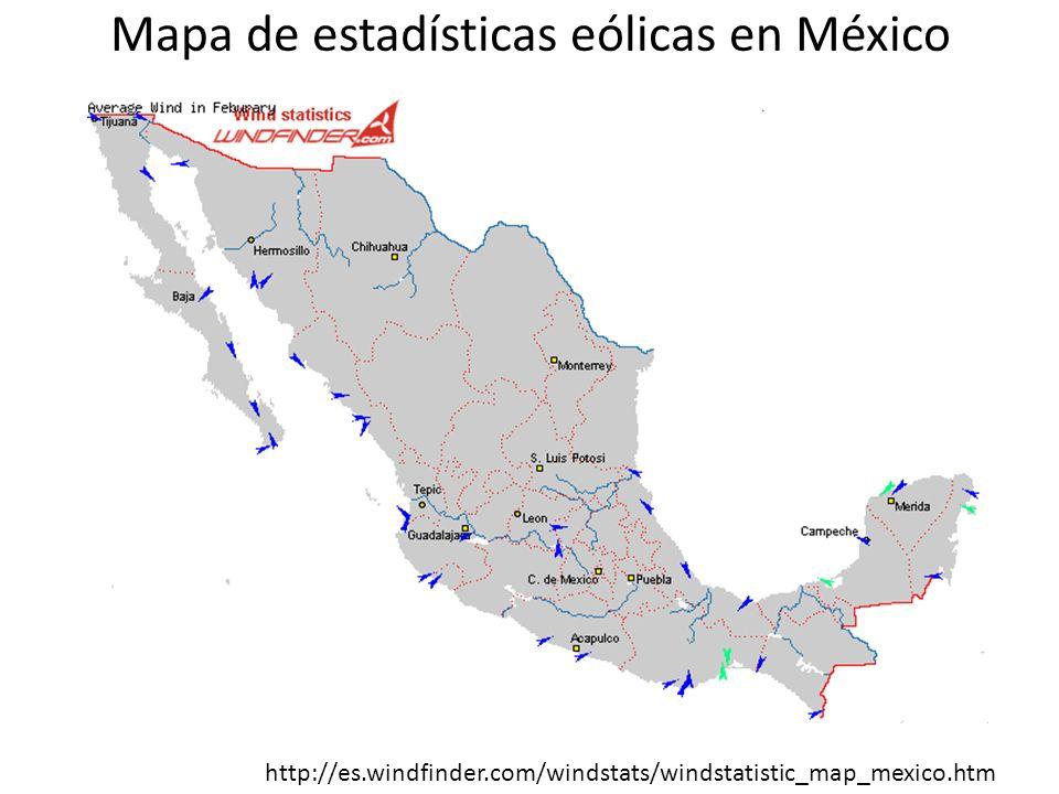 Mapa de estadísticas eólicas en México