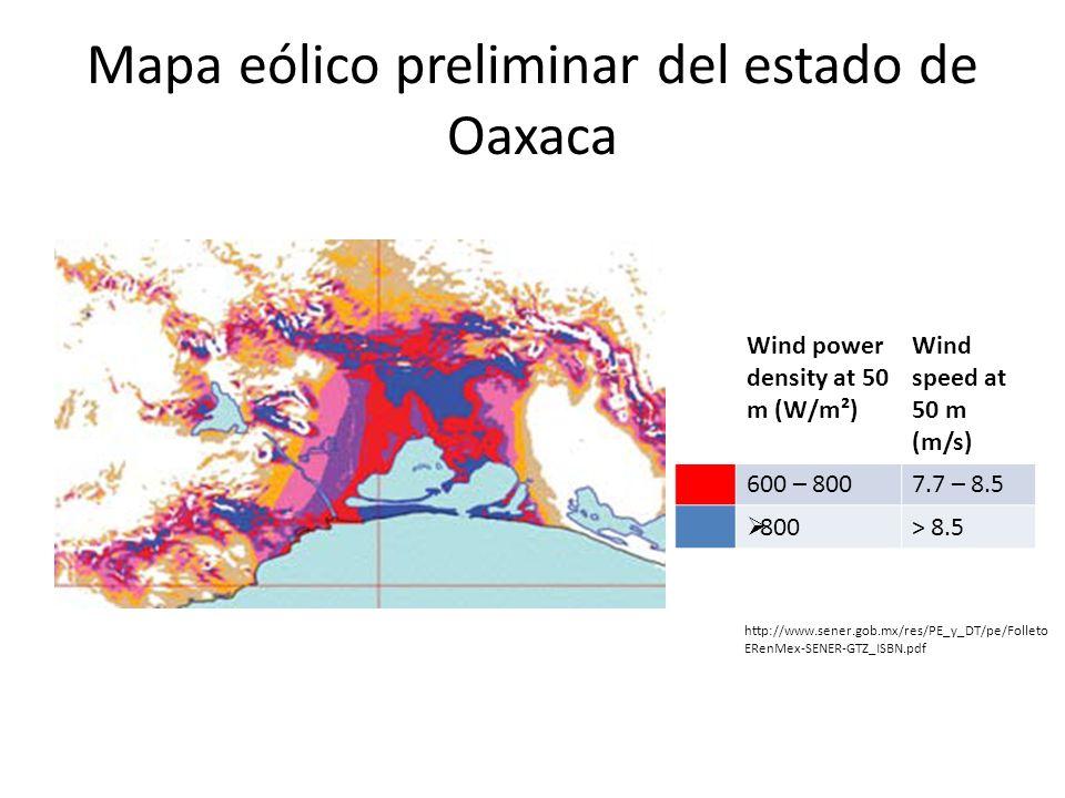 Mapa eólico preliminar del estado de Oaxaca
