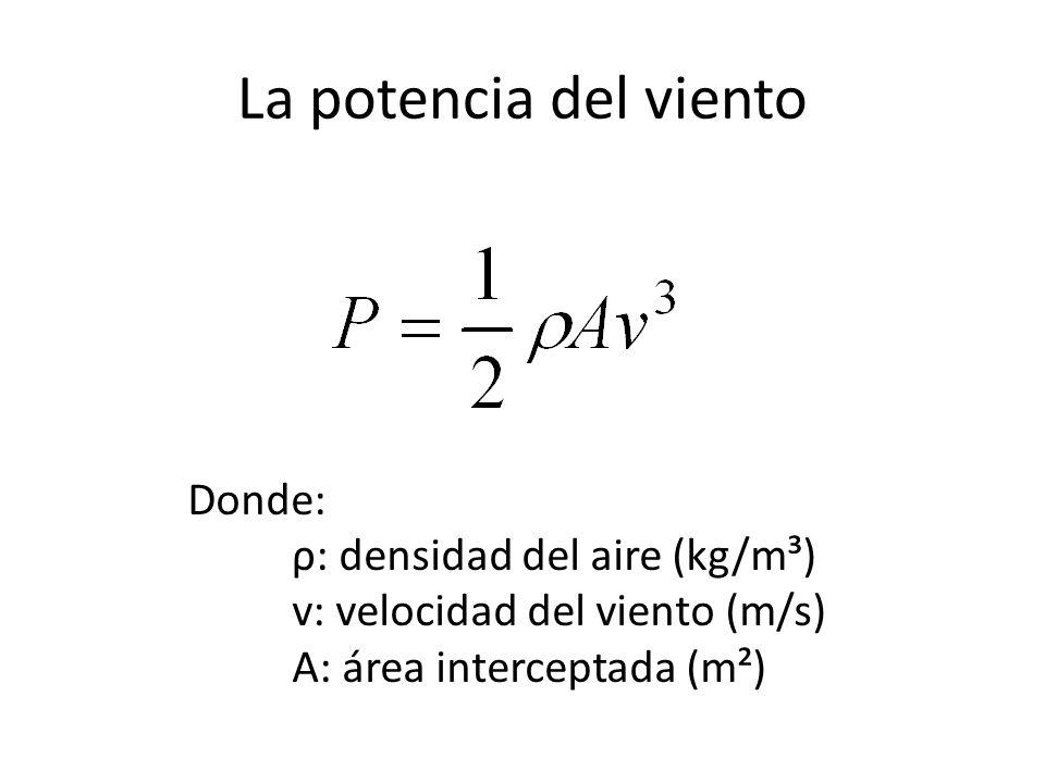 La potencia del viento Donde: ρ: densidad del aire (kg/m³)