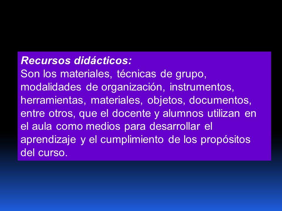 Recursos didácticos: