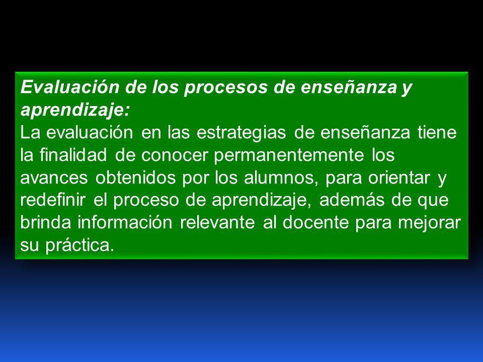 Evaluación de los procesos de enseñanza y aprendizaje: