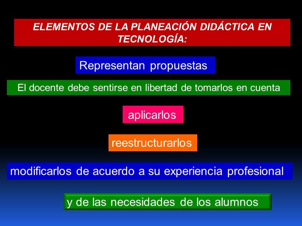 ELEMENTOS DE LA PLANEACIÓN DIDÁCTICA EN TECNOLOGÍA: