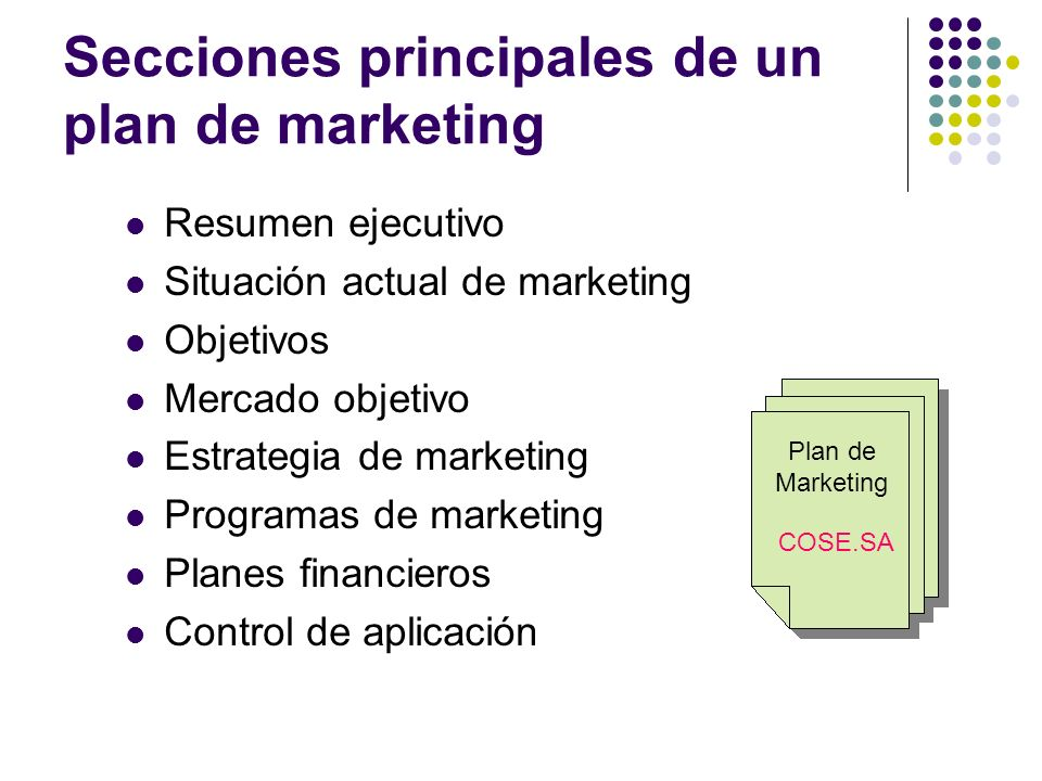 Secciones principales de un plan de marketing