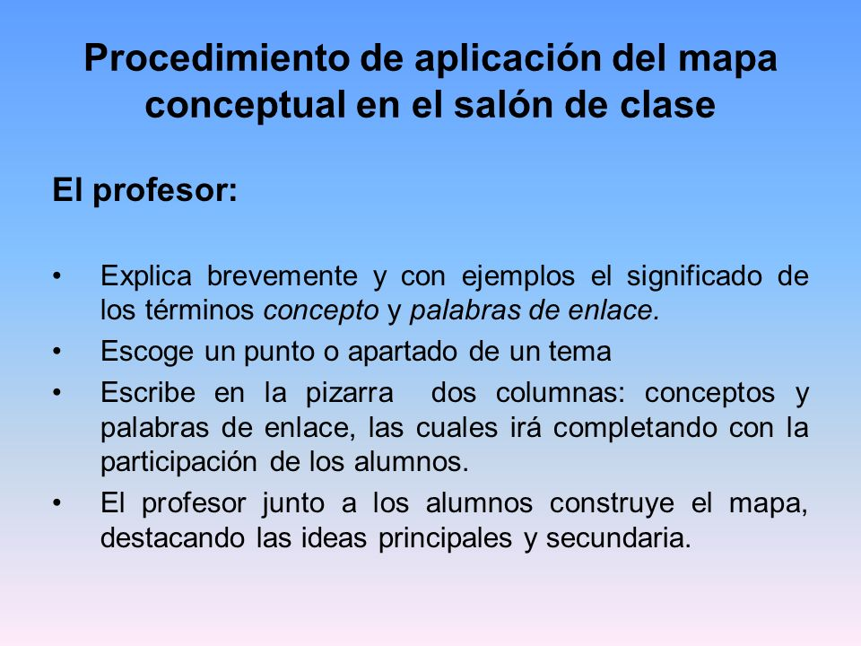 Procedimiento de aplicación del mapa conceptual en el salón de clase