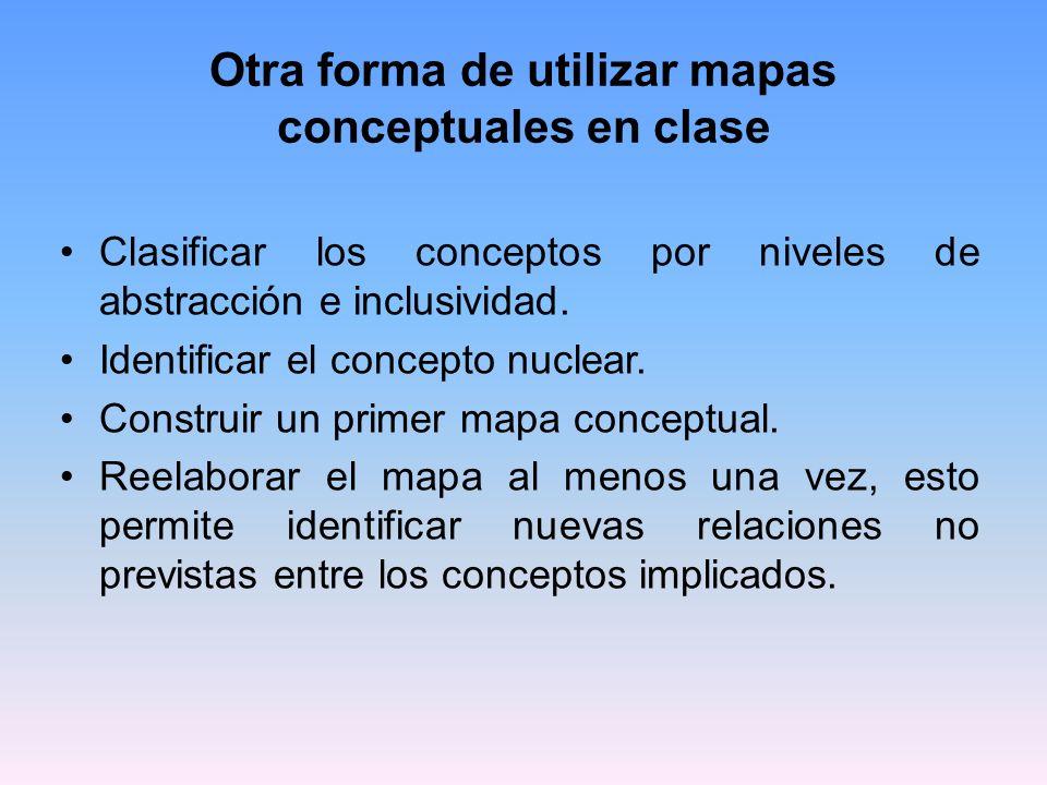 Otra forma de utilizar mapas conceptuales en clase