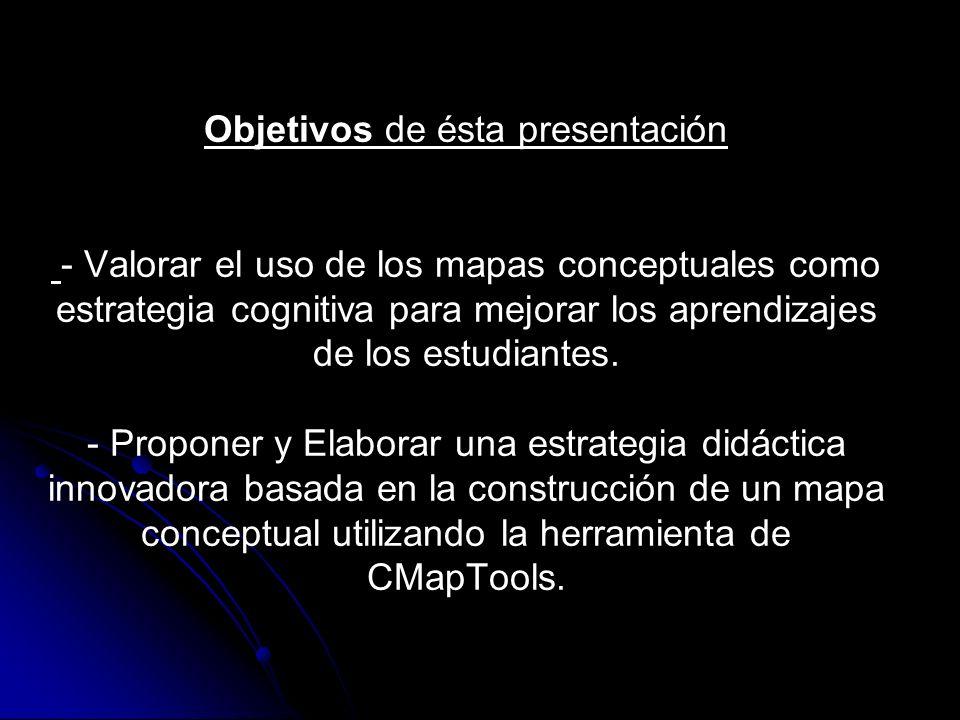 Objetivos de ésta presentación - Valorar el uso de los mapas conceptuales como estrategia cognitiva para mejorar los aprendizajes de los estudiantes.