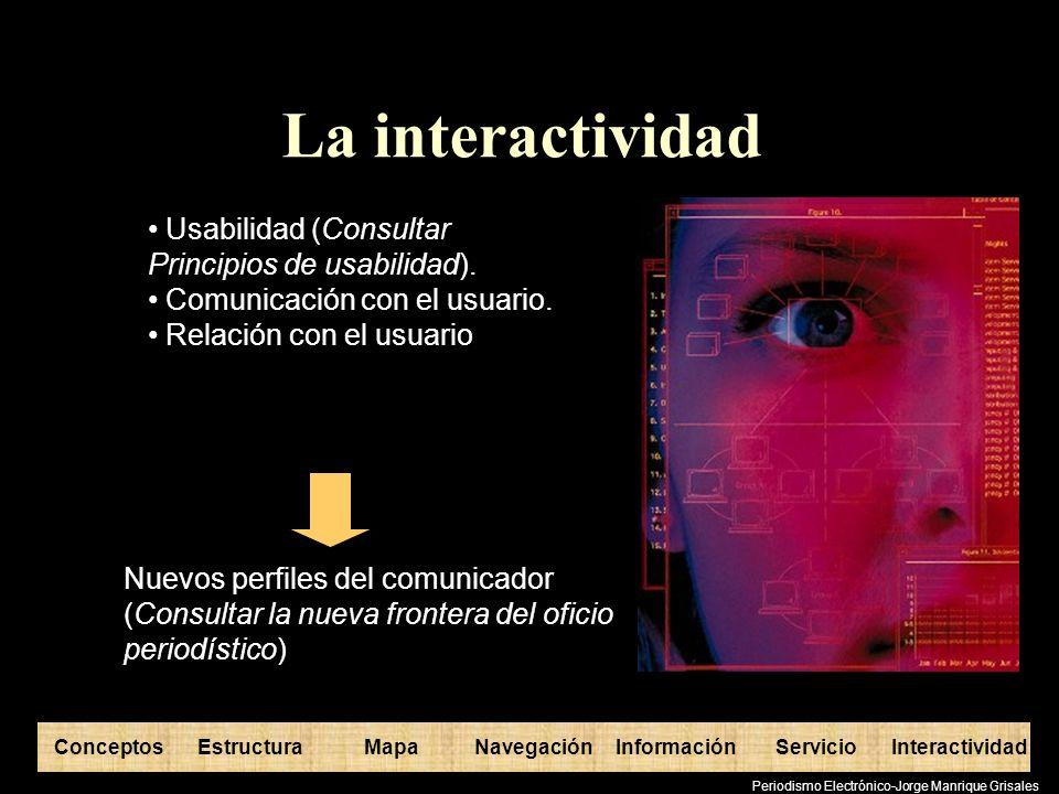 La interactividad Usabilidad (Consultar Principios de usabilidad).