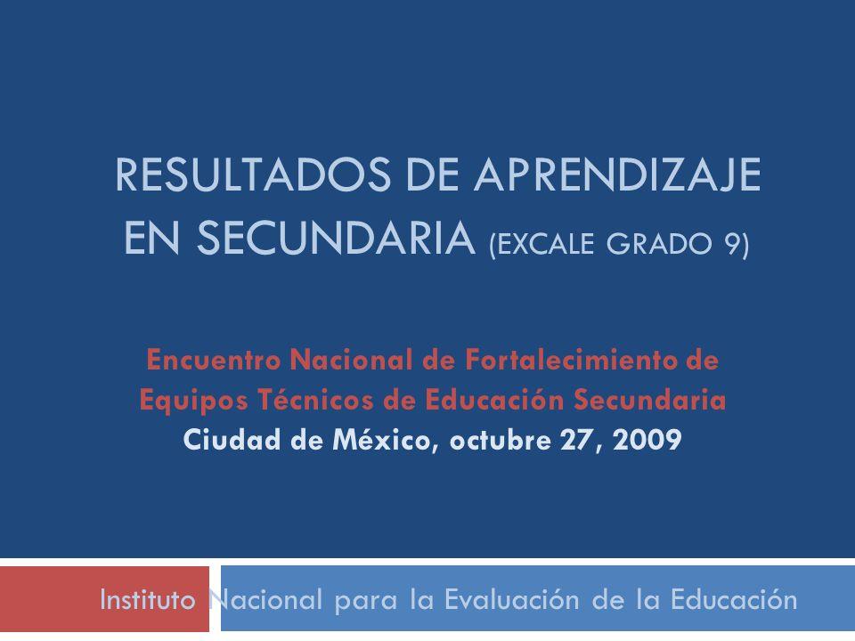 Resultados de aprendizaje en secundaria (excale grado 9)