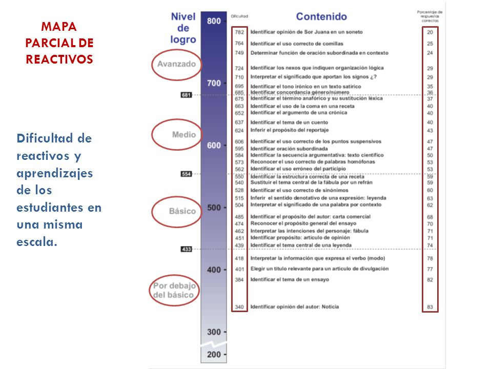MAPA PARCIAL DE REACTIVOS