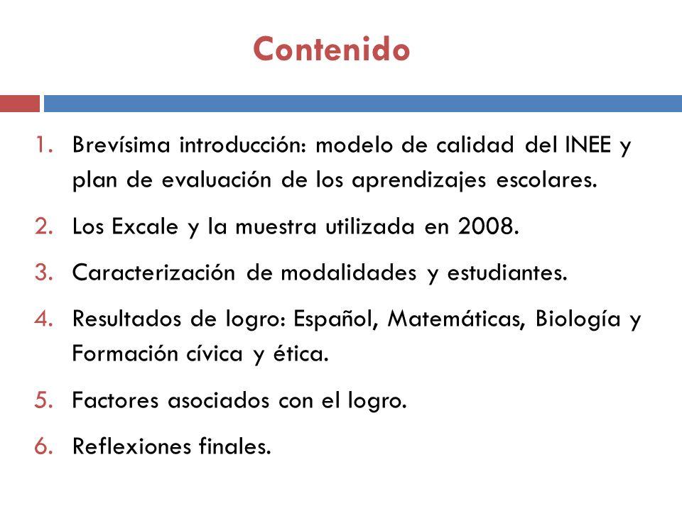 Contenido Brevísima introducción: modelo de calidad del INEE y plan de evaluación de los aprendizajes escolares.