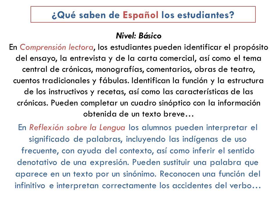 ¿Qué saben de Español los estudiantes