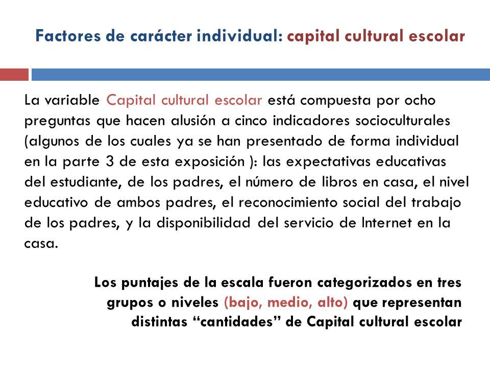 Factores de carácter individual: capital cultural escolar