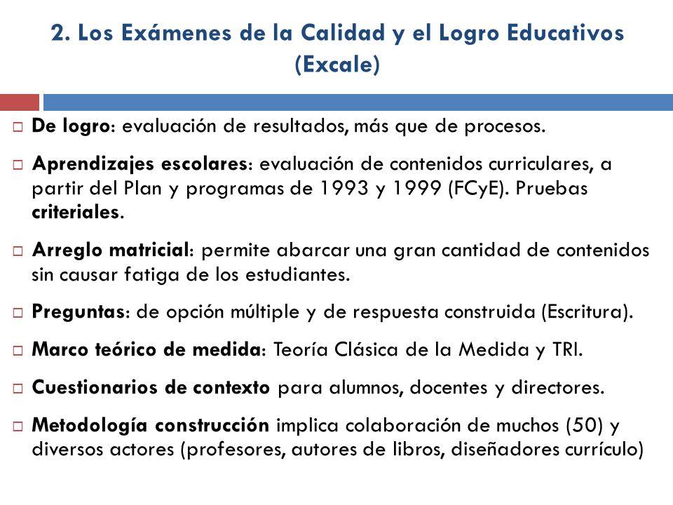 2. Los Exámenes de la Calidad y el Logro Educativos (Excale)