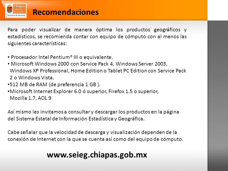 Recomendaciones www.seieg.chiapas.gob.mx