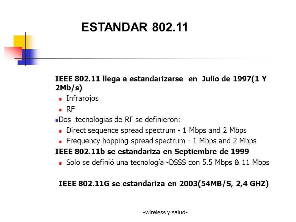 ESTANDAR 802.11 IEEE 802.11 llega a estandarizarse en Julio de 1997(1 Y 2Mb/s) Infrarojos. RF. Dos tecnologias de RF se definieron: