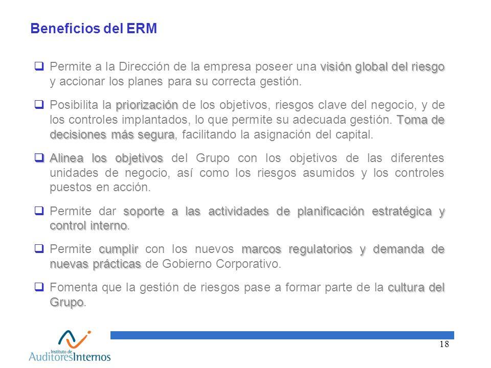 Beneficios del ERM Permite a la Dirección de la empresa poseer una visión global del riesgo y accionar los planes para su correcta gestión.