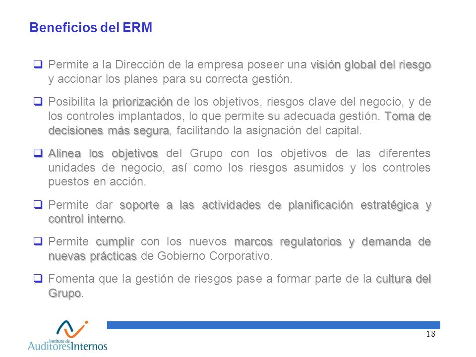 Beneficios del ERMPermite a la Dirección de la empresa poseer una visión global del riesgo y accionar los planes para su correcta gestión.
