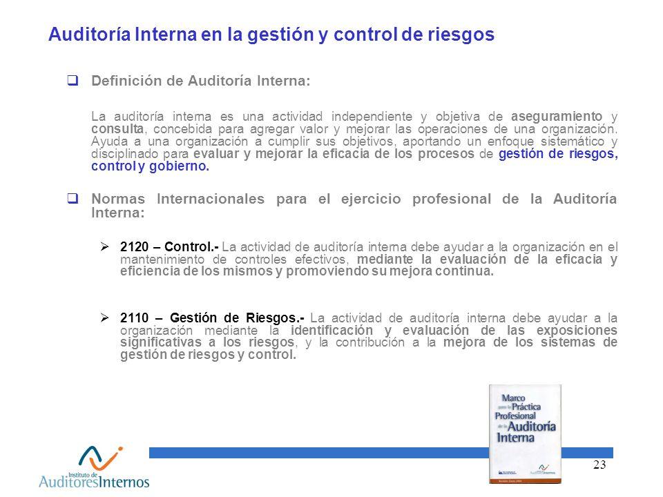 Auditoría Interna en la gestión y control de riesgos