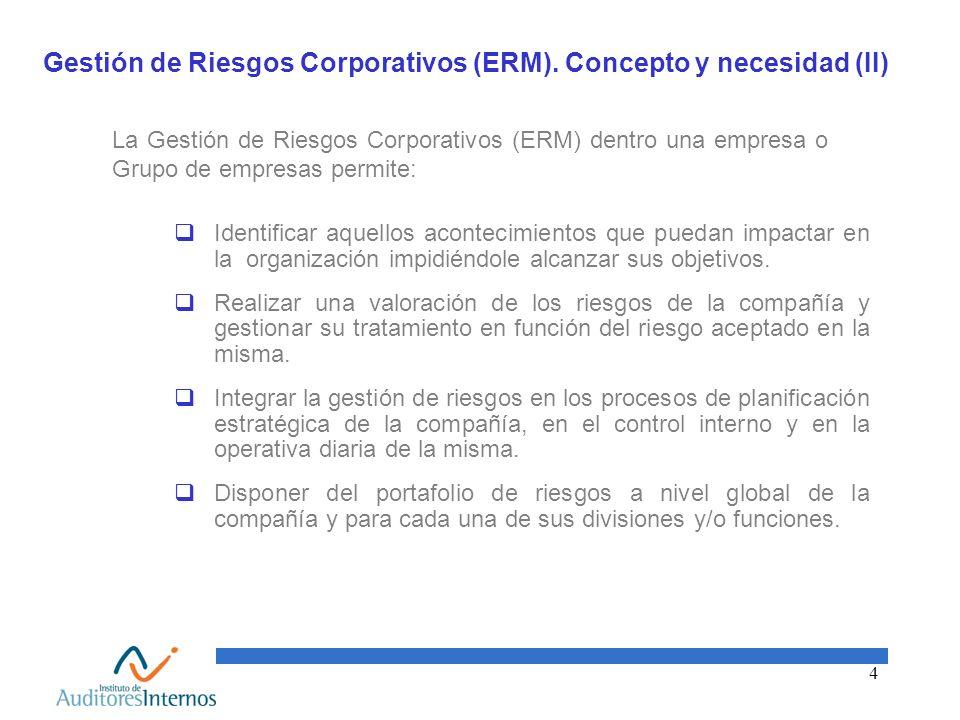 Gestión de Riesgos Corporativos (ERM). Concepto y necesidad (II)