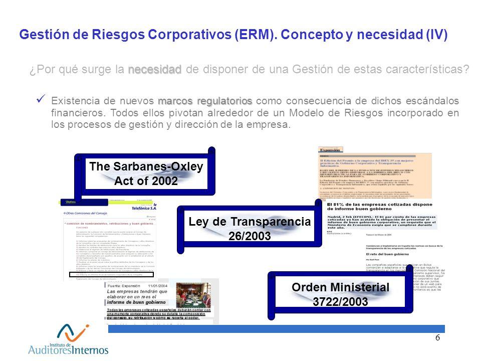Gestión de Riesgos Corporativos (ERM). Concepto y necesidad (IV)