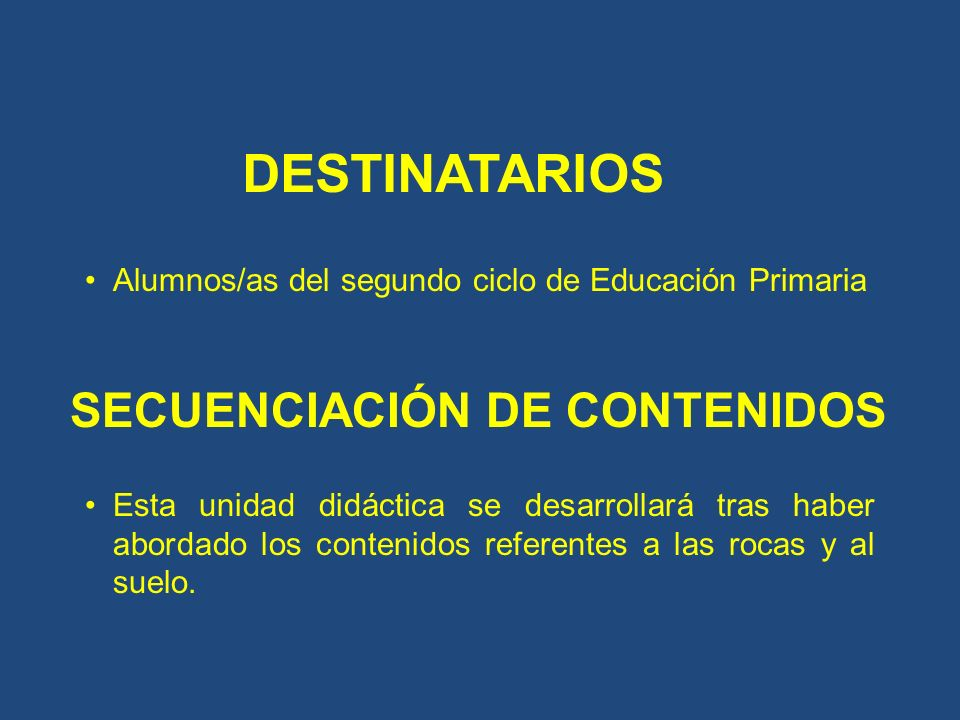 DESTINATARIOS SECUENCIACIÓN DE CONTENIDOS