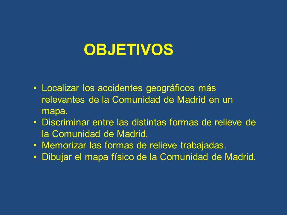 OBJETIVOS Localizar los accidentes geográficos más relevantes de la Comunidad de Madrid en un mapa.