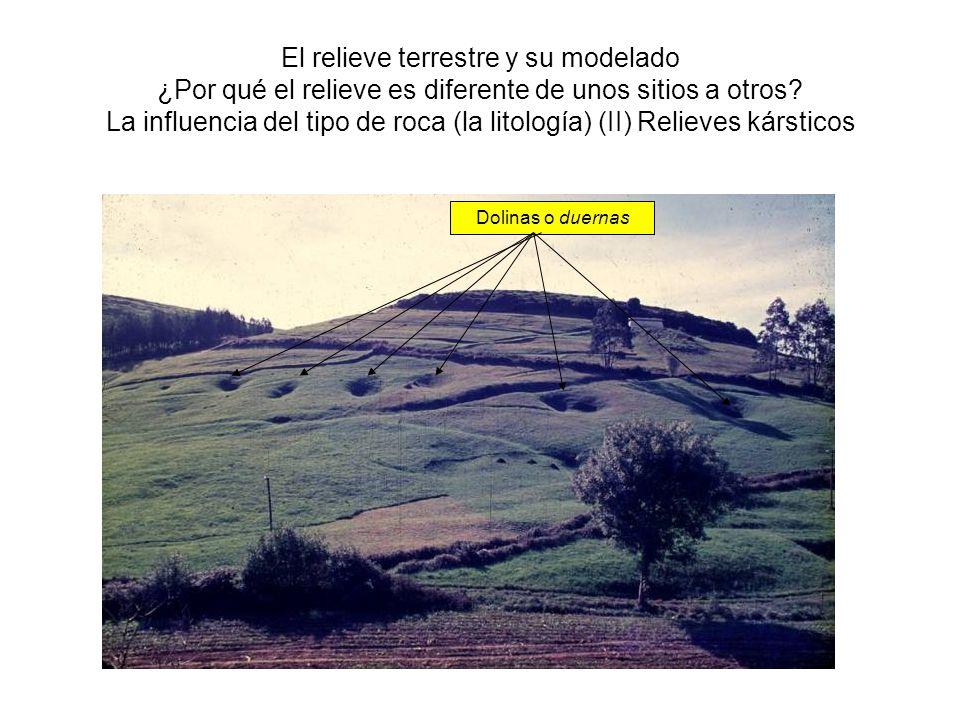 El relieve terrestre y su modelado ¿Por qué el relieve es diferente de unos sitios a otros La influencia del tipo de roca (la litología) (II) Relieves kársticos