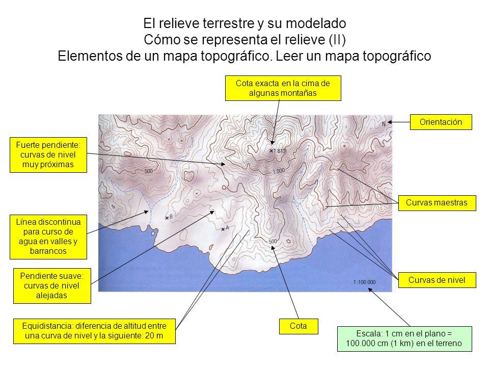 El relieve terrestre y su modelado Cómo se representa el relieve (II) Elementos de un mapa topográfico. Leer un mapa topográfico