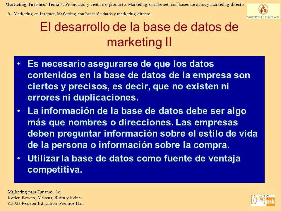 El desarrollo de la base de datos de marketing II