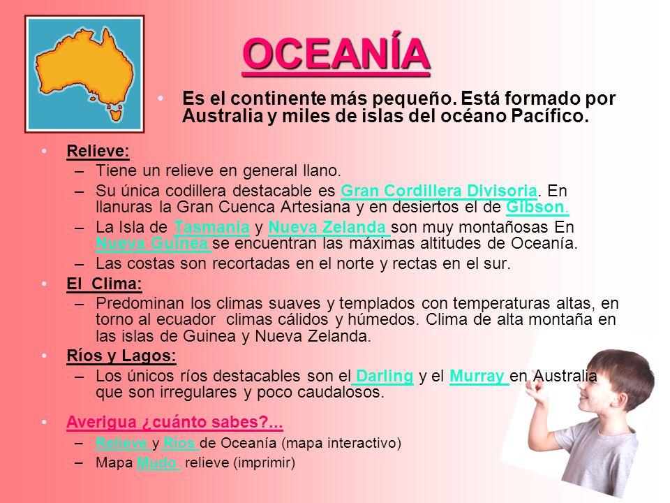OCEANÍA Es el continente más pequeño. Está formado por Australia y miles de islas del océano Pacífico.