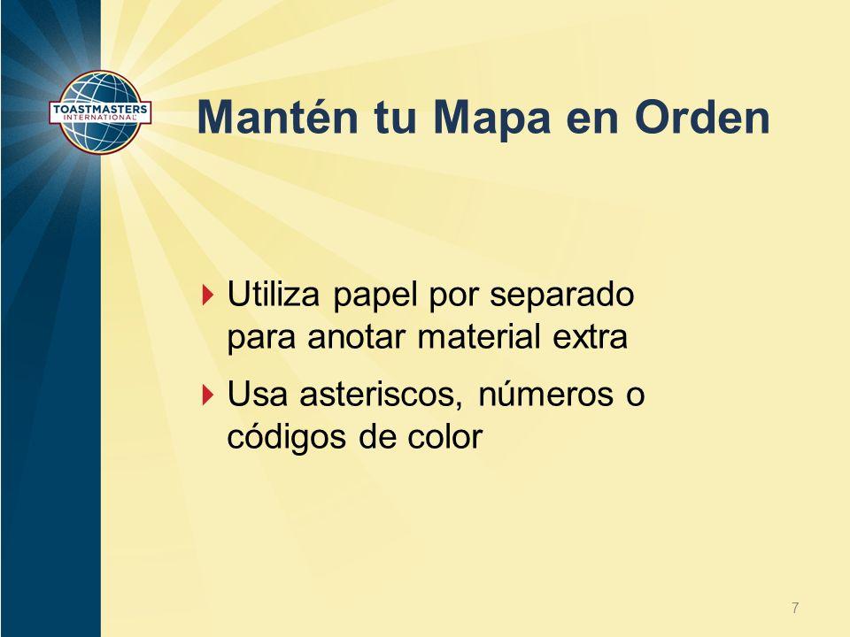 Mantén tu Mapa en Orden Utiliza papel por separado para anotar material extra.