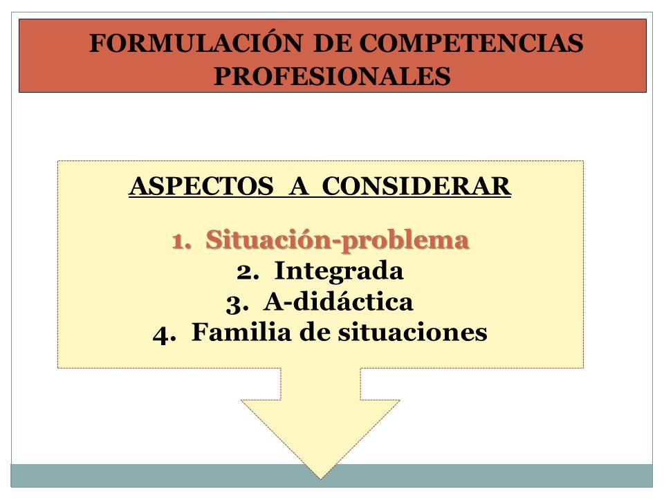 FORMULACIÓN DE COMPETENCIAS PROFESIONALES Familia de situaciones
