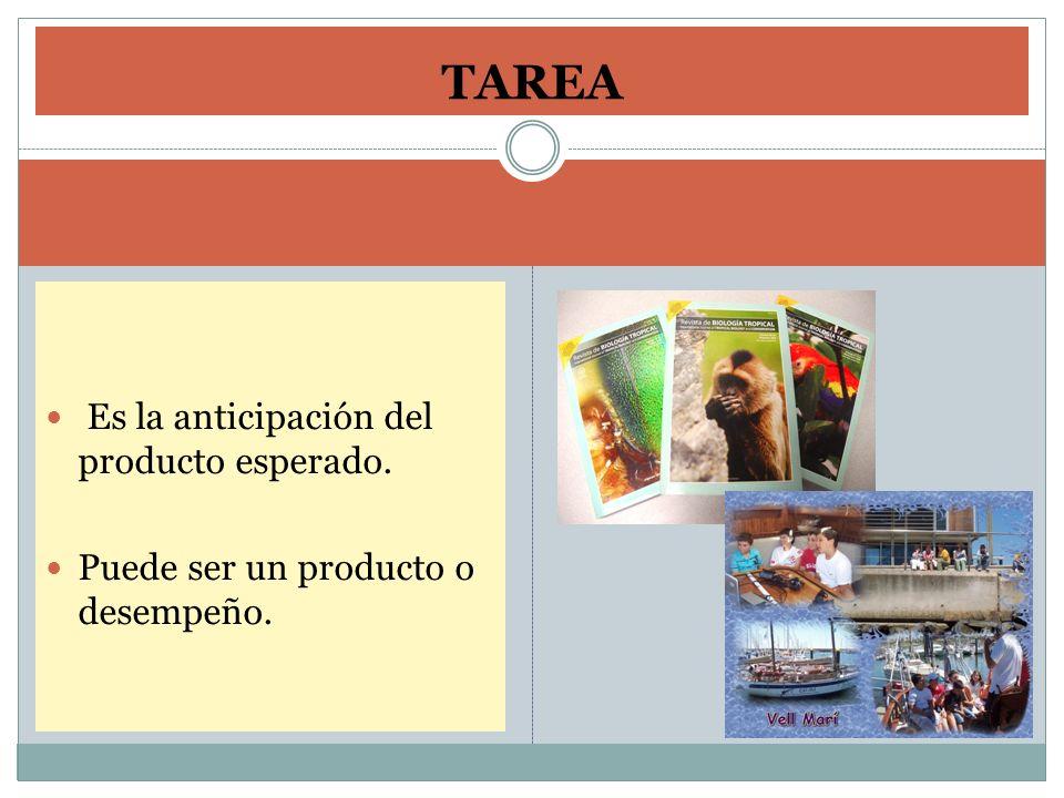 TAREA Es la anticipación del producto esperado.