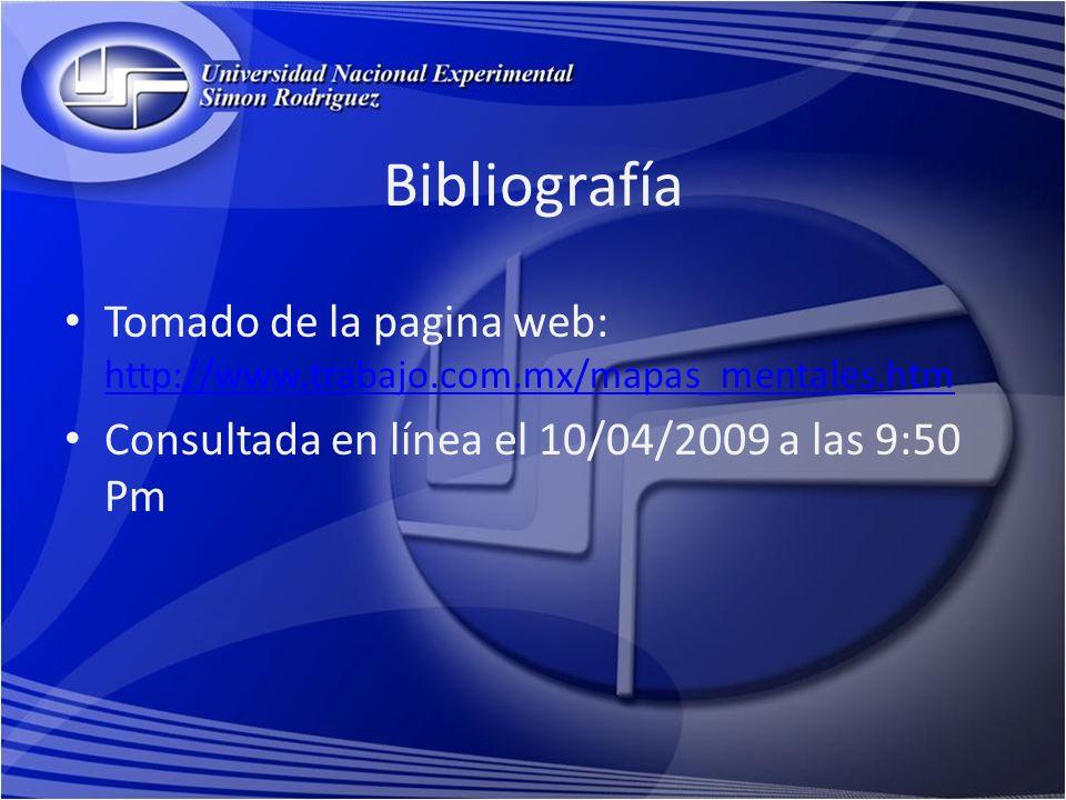 Bibliografía Tomado de la pagina web: http://www.trabajo.com.mx/mapas_mentales.htm.