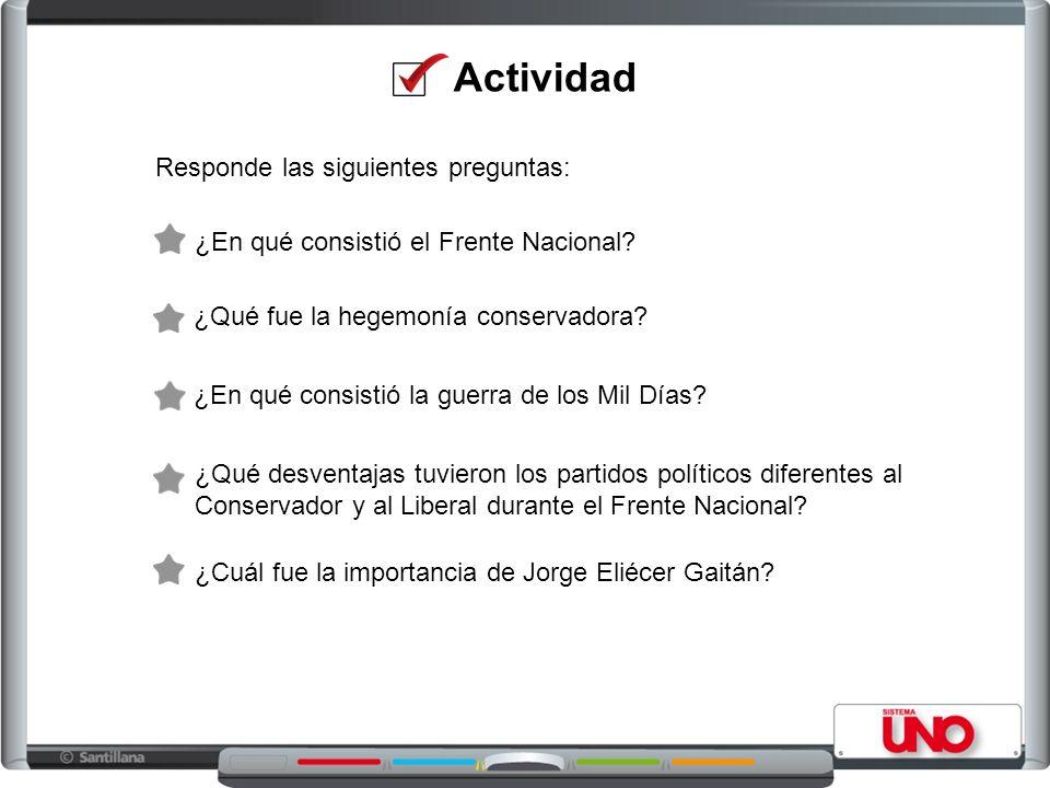 Actividad Responde las siguientes preguntas: