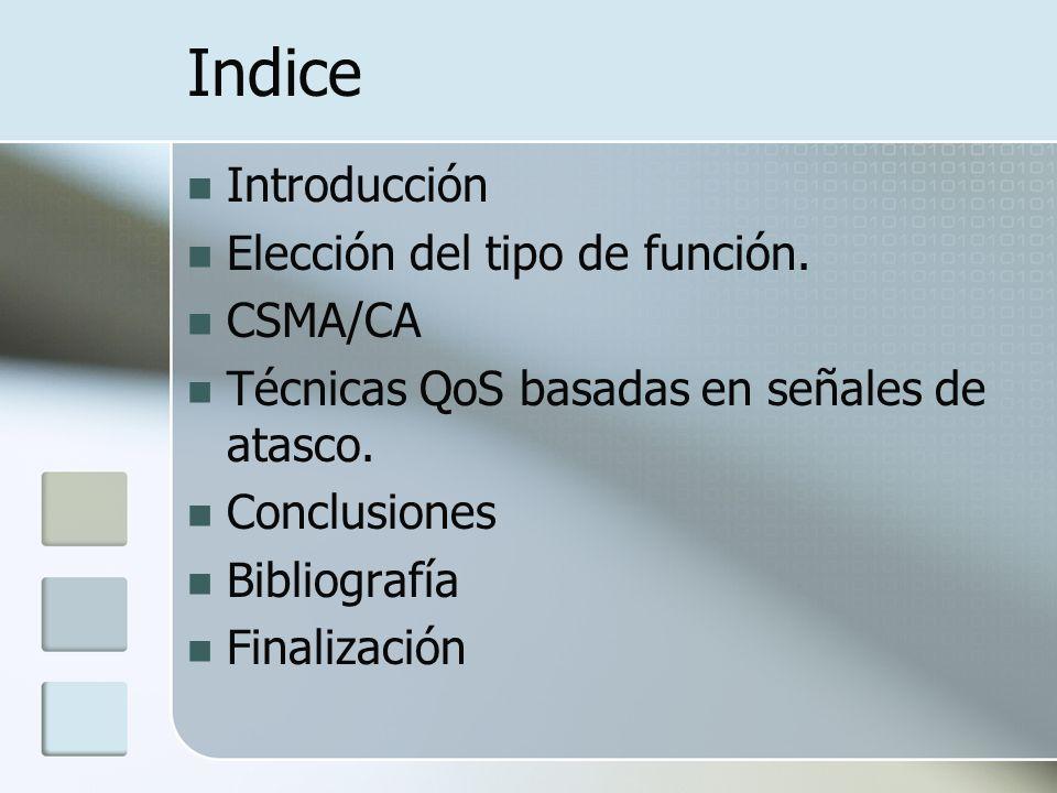Indice Introducción Elección del tipo de función. CSMA/CA