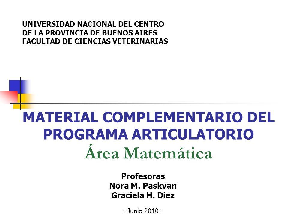 MATERIAL COMPLEMENTARIO DEL PROGRAMA ARTICULATORIO Área Matemática