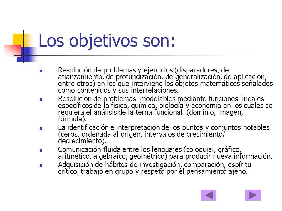 Los objetivos son: