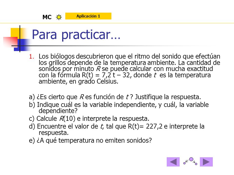 MC Aplicación 1. Para practicar…