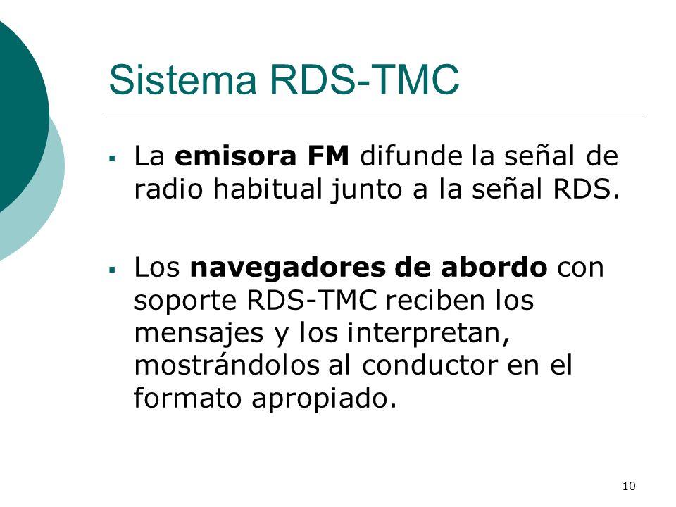 Sistema RDS-TMCLa emisora FM difunde la señal de radio habitual junto a la señal RDS.