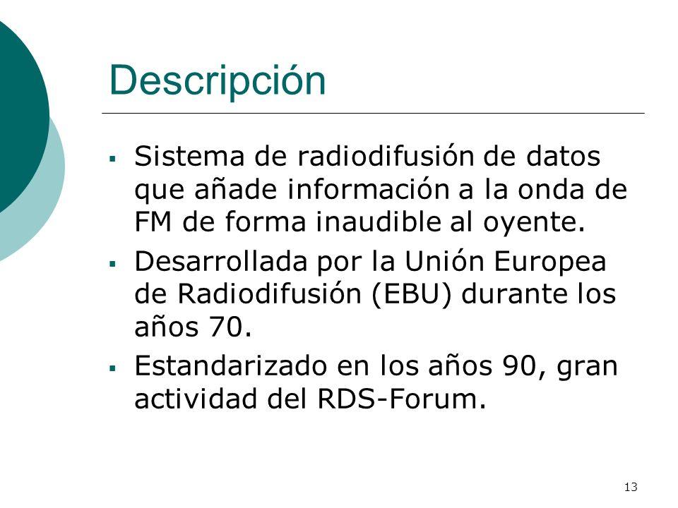 Descripción Sistema de radiodifusión de datos que añade información a la onda de FM de forma inaudible al oyente.