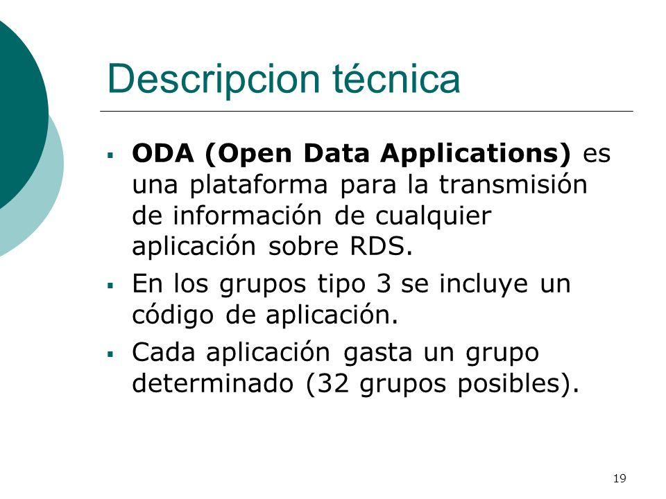 Descripcion técnicaODA (Open Data Applications) es una plataforma para la transmisión de información de cualquier aplicación sobre RDS.