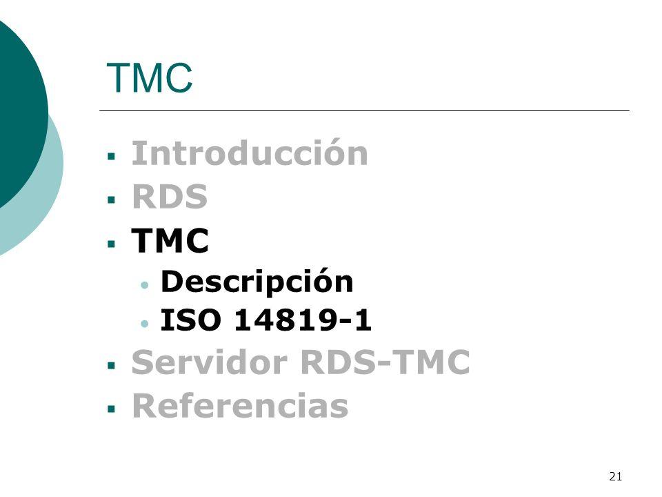 TMC Introducción RDS TMC Servidor RDS-TMC Referencias Descripción