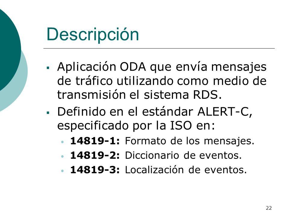 Descripción Aplicación ODA que envía mensajes de tráfico utilizando como medio de transmisión el sistema RDS.
