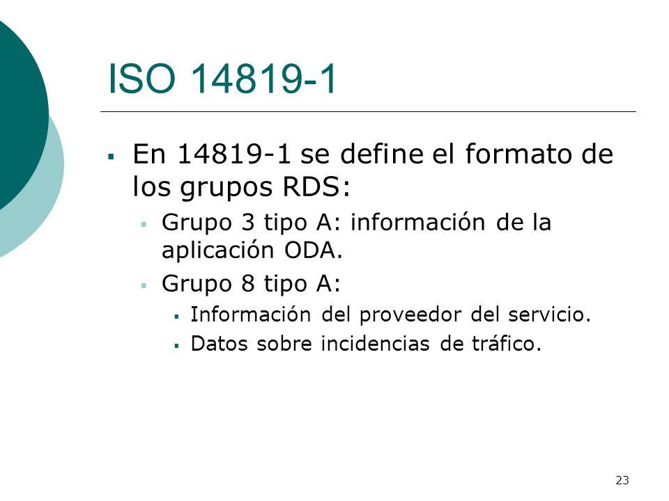 ISO 14819-1 En 14819-1 se define el formato de los grupos RDS: